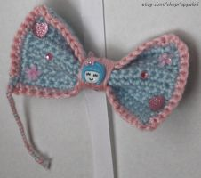 Appaloli: lSweet Smiles Blue and Pink Crochet Bow by Appaloli