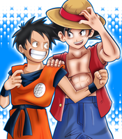 Luffy And Goku by TheWolfMonster