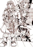 Steampunk Characters Inkwork by ZoeStead