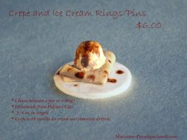 Crepe and Ice Cream Ring or Pin by Wintaria