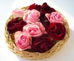 Roses in a basket by TinyWild