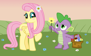 Flutter and Spike on the date by Fluttershy626