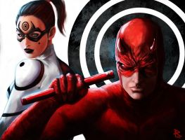 Daredevil and Lady Bullseye by PierluigiAbbondanza