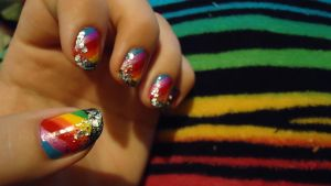 Rainbow nails by 2ninjabee2