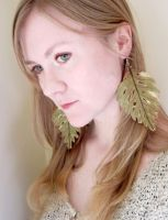Silk Leaf Earrings by nolwen