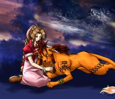 Aeris and Red XIII by Kawaii-Ash