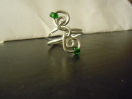 Wire Swirl Ring, with Green by BevyArt