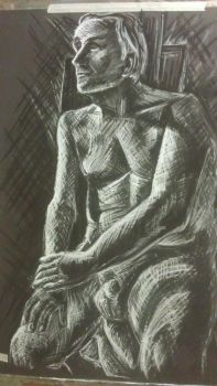 Seated Man: crosshatch by ryoko-rock