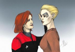 Janeway and Seven (colored) by lostview