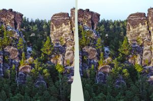 Elbe Sandstone Mountains ::: HDR 3D Cross Eye by zour