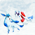 Shiny Glaceon and Froslass by Frozen-Wing