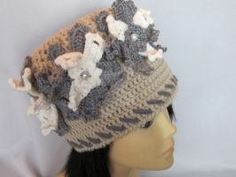 Lace Color Crochet Hat with Beautiful tree Grey He by MagicalString