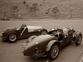 Pre WWII MG racecars BW sephia by Partywave