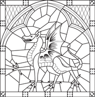Stained Glass Dragon Cartoon by LittleFireDragon