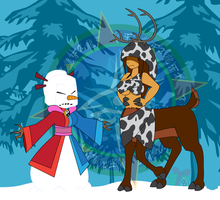 Snowwoman Vs Reindeer Centaur by Dragon-FangX