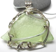 Floral Green Sea Glass Necklace by sojourncuriosities