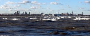 View of the city of Tallinn in a strong wind by Henrikson