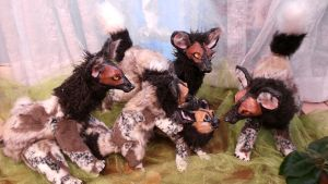 African Painted Dog Adult Posable Art Doll Family by Eviecats