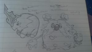 Mega Musharna and Mega Garbodor ideas- sketches by slickedbackArtisan