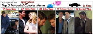 My favorite SPN couples meme by nezukuro