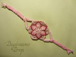 Pink macrame flower bracelet by daydreamsdrop