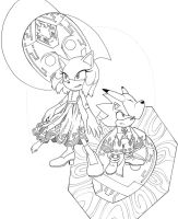 Moon and Sun Mask Lineart by Megaloceros-Urhirsch