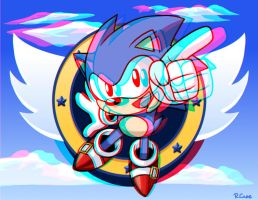 3D Sonic the hedgehog glasses ver by rongs1234