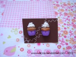 Cupcake Earring Lavender by alicoe