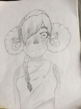 Old drawing of a ram girl by CookieLKirkland