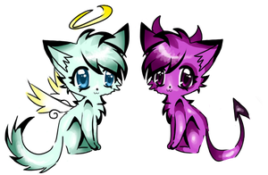 Halo and Horns adoptable kitties! by Thewaningcrescent