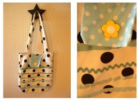 Polkadot Ribbons + Flower Tote by deconstructedstars