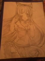 Anime Cat Girl Drawing by kayanimeproductions