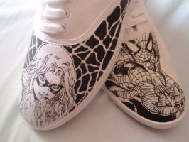 Spider-man and Black cat  Custom Trainers by Tezza-jr