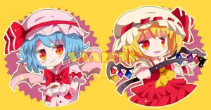 Open order touhou flandre and remilia buttons by miacis83