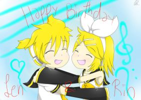 Len and Rin birthday by Runnie-the-cheetah