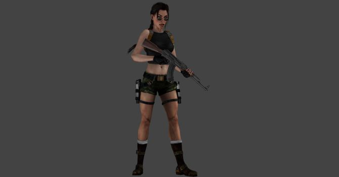 AOD Lara with AK 47 by ArtiMuller