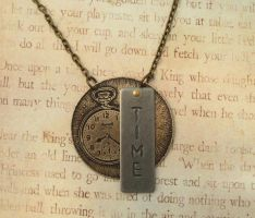 Time Pocket Watch Antiqued Brass Necklace by FusedElegance