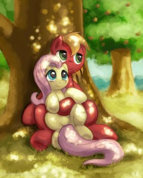 Fluttershy and Big Macintosh by KP-ShadowSquirrel