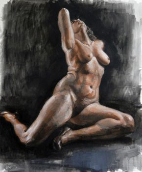 Figure study in acrylic - Nov '16 by roy-p