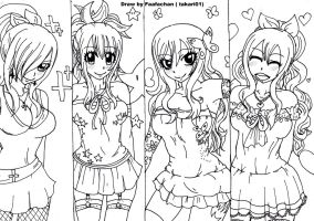 Fairy Tail Girls ( pls colour us) by Takari01