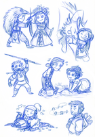 Sketch dump - Little Mages by Sleyf