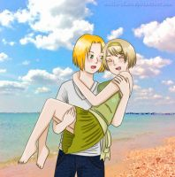 APH: Walking near the sea by Anila-chan