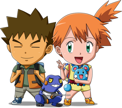 Pokemon - Chibi Brock and Misty by SergiART