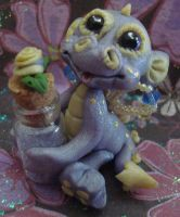 polymer clay purple ooakdragon by crazylittlecritters