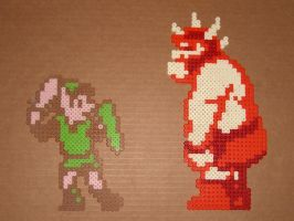 Link and Gooma bead battle by zaghrenaut