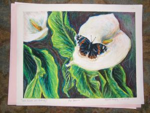 Calla Lillies and Butterfly by the-bumble-bee-one