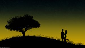 Couple at the sunset by lebreton