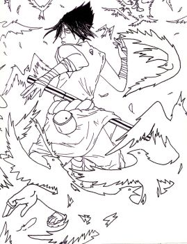 Sasuke and a swarm of crows by Escape-to-darkness