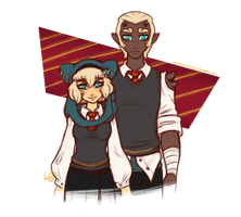 Wakfu Hogwarts AU: Alys and Baudouin of Gryffindor by WishingStarInAJar