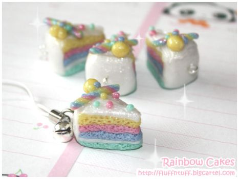 Rainbow Cake Charms by Fluffntuff